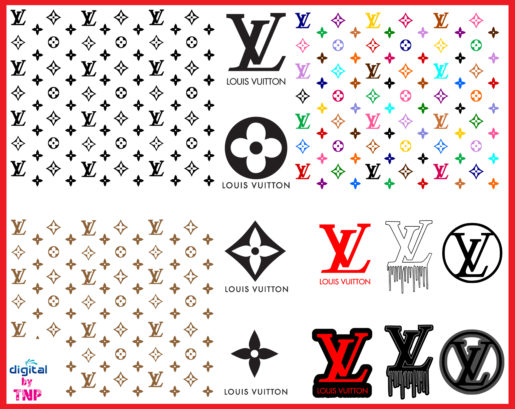 Louis Vuitton Svg Lv Bundle Brand Logo Svg Louis Vuitton Pattern Cricut File Silhouette Cameo Svg Png Eps Dxf Customer Satisfaction Is Our Priority