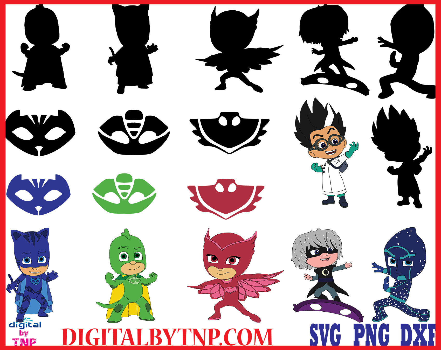 Pj Masks Clipart Pj Masks Svg Png Eps Pj Masks Silhouette Pj Masks Characters Gekko Catboy Owlette Lunetta Night Ninja Romeo Customer Satisfaction Is Our Priority
